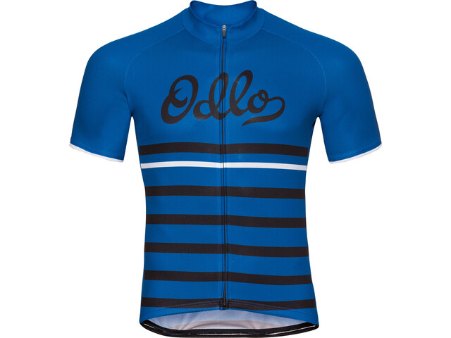 Odlo Fujin Print Stand-Up Collar SS Full Zip Shirt Men energy blue-black-retro